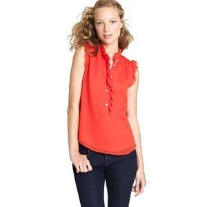 J. Crew • Poppy Red Natasha Sleeveless Silk Top